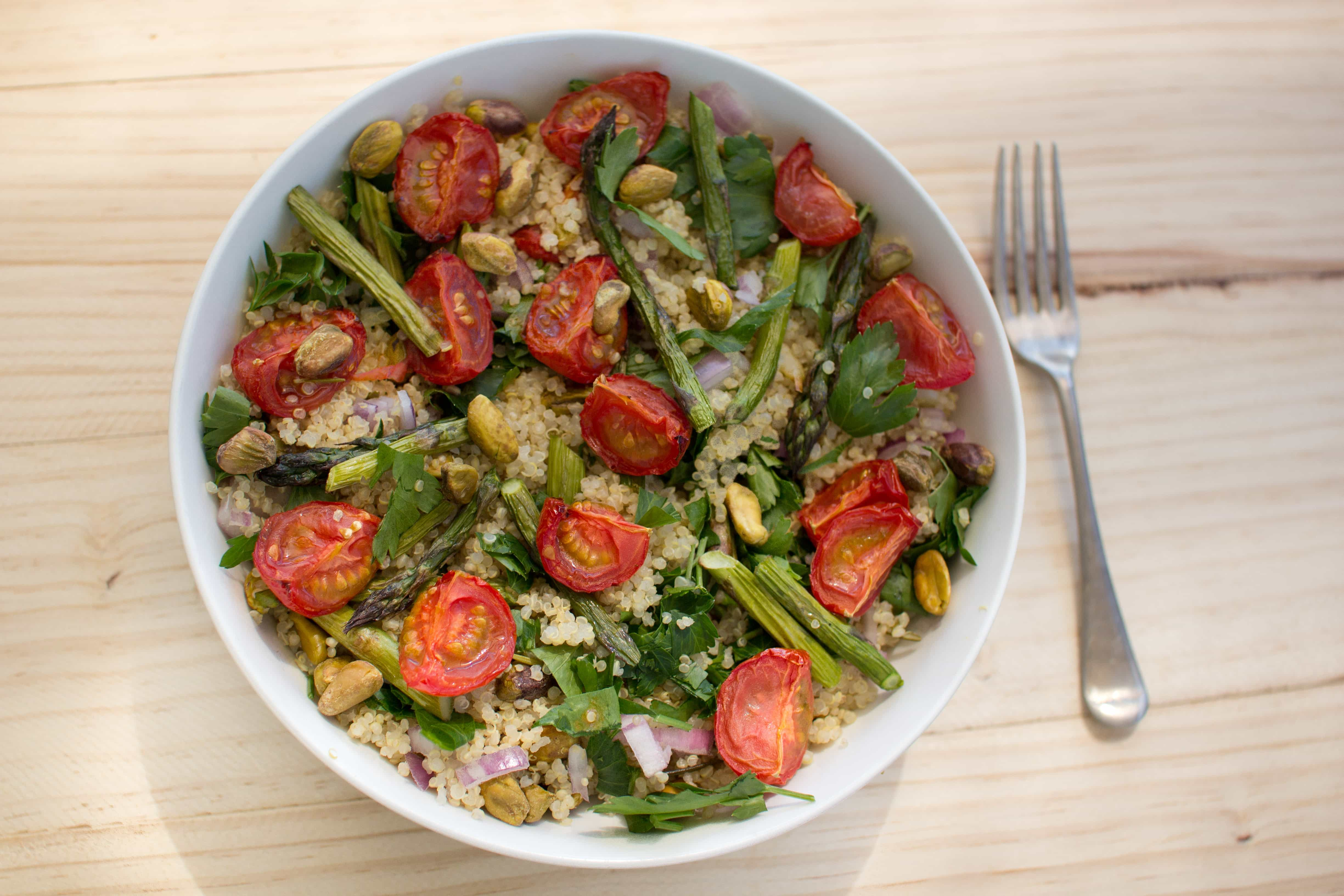 Spring quinoa salad with asparagus and slow roasted tomato