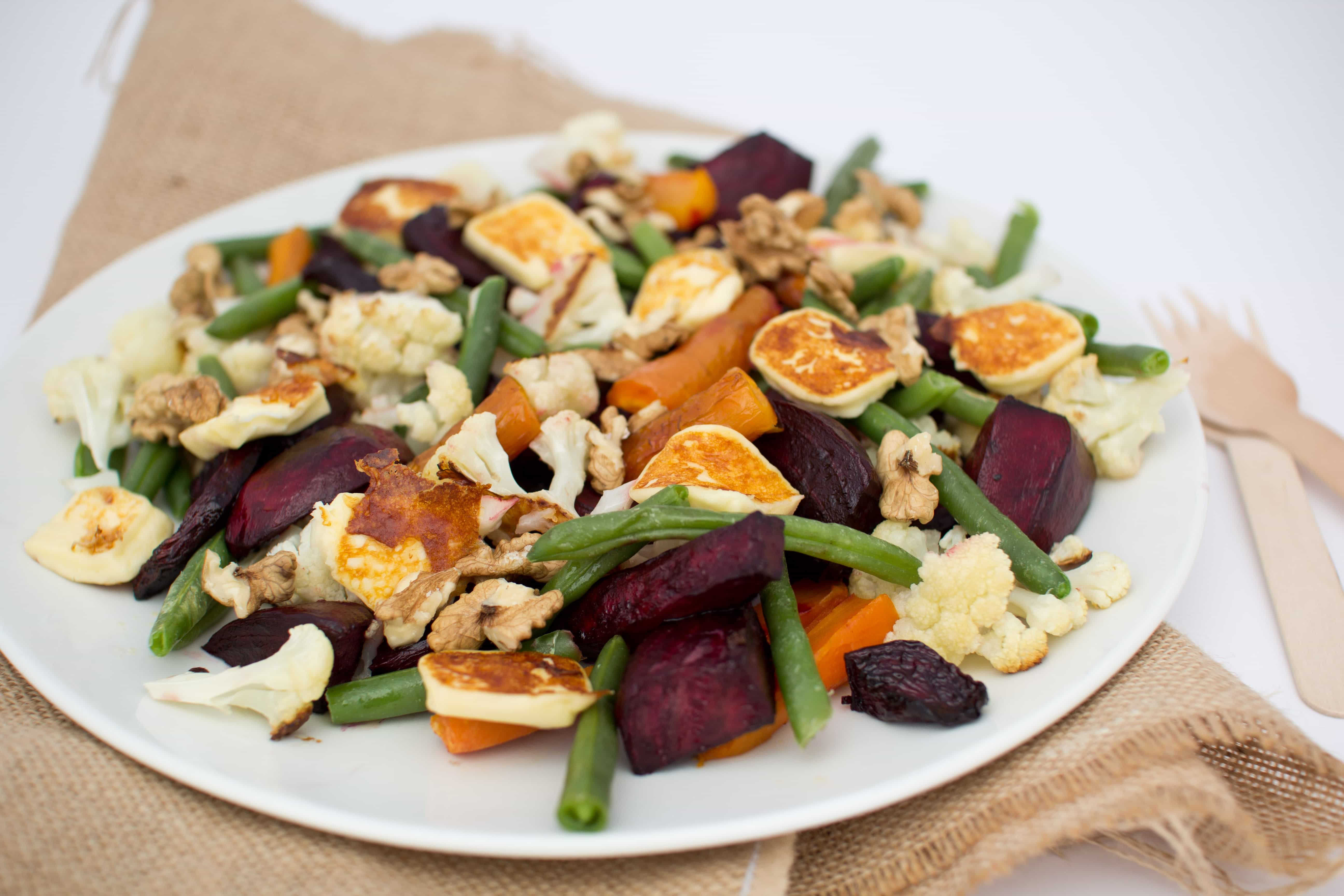 Roasted beetroot, carrot, cauliflower salad with halloumi