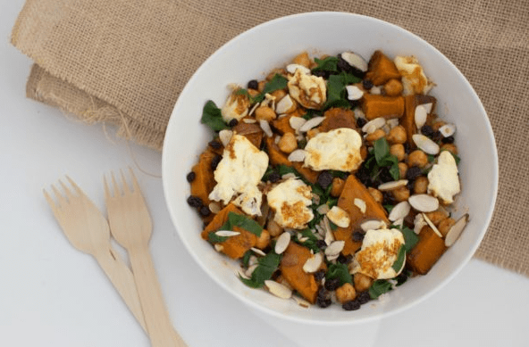 Roasted pumpkin, spinach & chickpea salad with halloumi