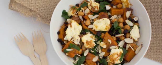 roast pumpkin spinach halloumi salad-3