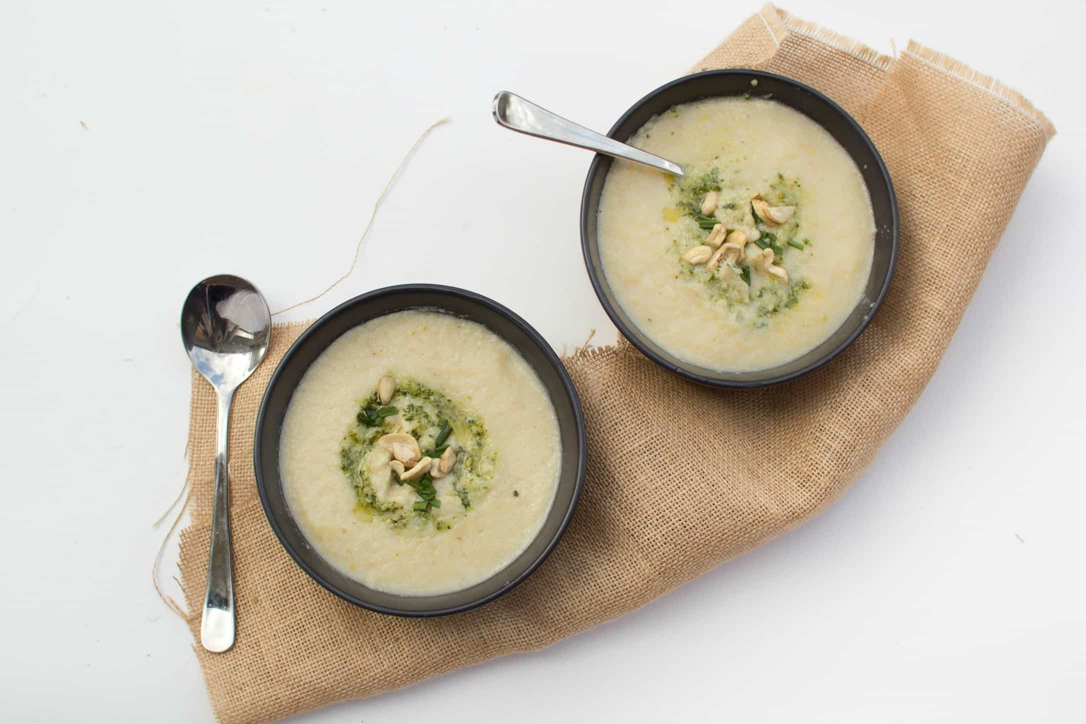 Creamy cauliflower soup with pumpkin, cashew & tofu fritters