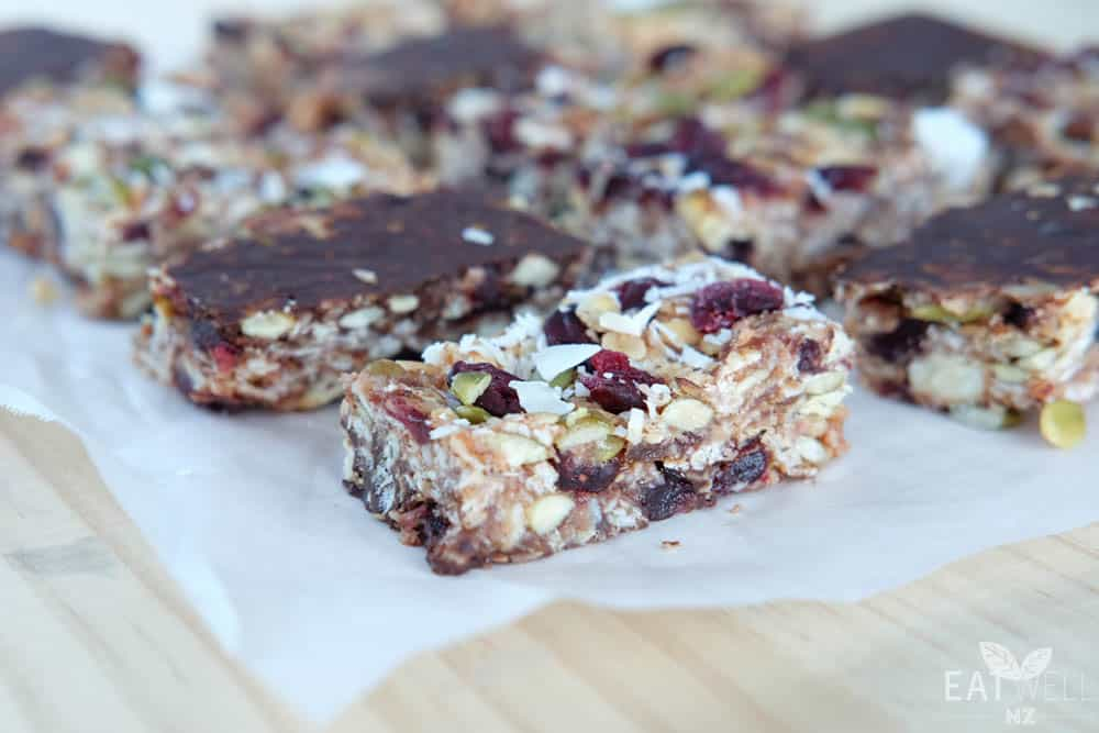 Cranberry, Cashew and Chocolate Muesli Bars